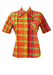 Vintage 1970's Short Sleeved Colourful Checked Shirt in Orange & Pink - M
