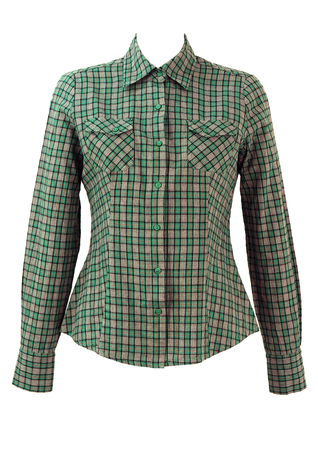 Green, Grey & Red Check Shirt with Elbow Patches - M
