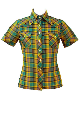 Vintage 1970's Short Sleeve Purple, Yellow & Blue Check Blouse - S