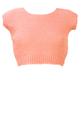 Soft Pink Knitted Crop Top - S