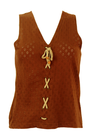 Brown Sleeveless Perforated Top with Rope Fastening Detail - S