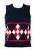 Navy Blue Tank Top with Deep Pink & White Argyle Pattern - Unused -  XS/S