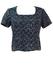 Short Sleeved Blue & White Patterned Top - M