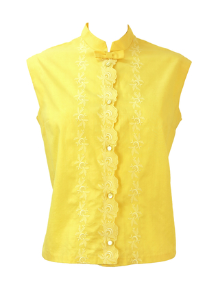 Vintage 1960's Sleeveless Yellow Blouse with White Embroidery - L