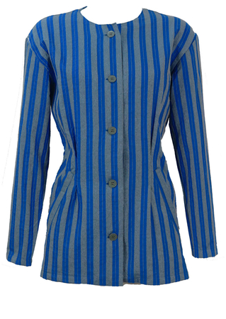 Grey and Blue Striped Jacket - L