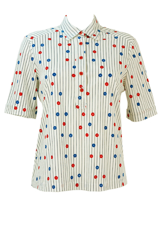Vintage 1960's White Striped Top with Red & Blue Flowers - M