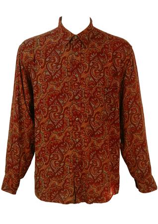 Vintage 1990's Burgundy, Ochre & Grey Paisley Print Shirt - M/L