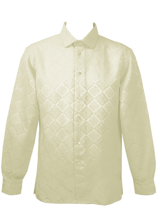 Vintage 1960's White Brocade Shirt - L/XL
