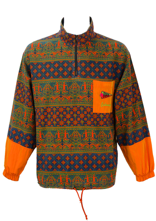 Vintage 1990's 'Think Pink' Blue & Orange Aztec Print Zip Front Top - L