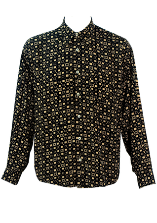 Vintage 1990's Casual Fit Black Shirt with Cream Geometric Pattern - M/L