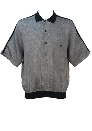 Grey Linen Short Sleeved Shirt with Black Trim Detail - L