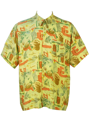 Vintage 1990's Abstract Patterned Short Sleeved Shirt - L/XL