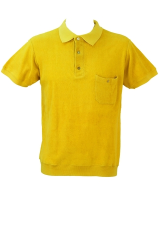 Vintage 1960's Yellow Towelling Polo Shirt - M/L