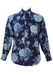 Blue Cotton Long Sleeved Shirt with Large Rose Print - M