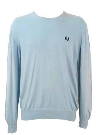 Fred Perry Light Blue Round Neck Cotton Jumper - XL/XXL