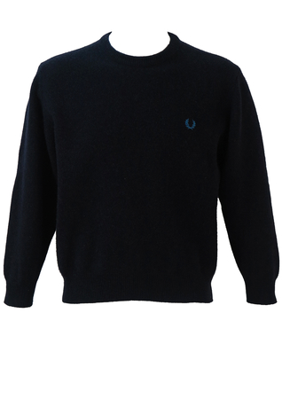 Fred Perry Mottled Blue & Grey Wool Jumper - M/L