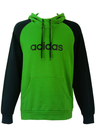Adidas Green Hoody with Navy Blue Sleeves - M/L