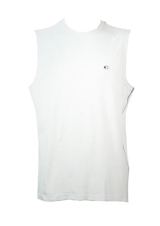 Champion White Sleeveless T-Shirt - L/XL