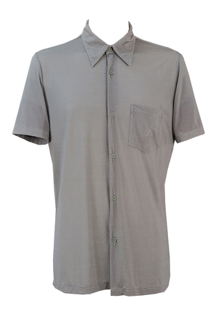 Valentino Grey Fine Pinstripe Button Down Polo Shirt - M/L