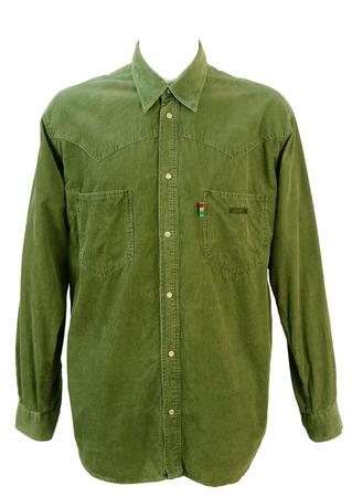 Moschino Olive Green Corduroy Western Shirt - XL
