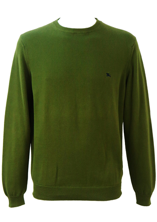 Burberry Olive Green Cotton Jumper - L