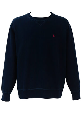 Ralph Lauren Polo Sport Navy Blue Sweatshirt with Stitching Detail - XL/XXL
