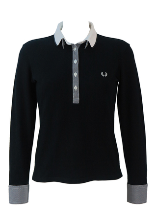 Fred Perry Long Sleeved Polo Shirt in Black with Grey & White Striped Trim - S