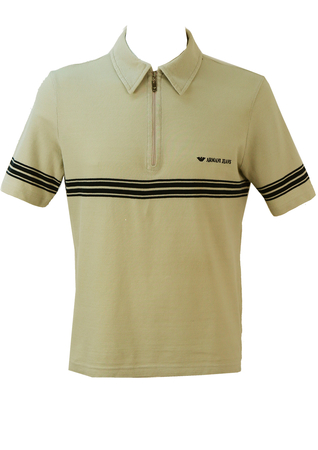 Armani Jeans Light Grey Polo Shirt with Navy Stripe Detail - M