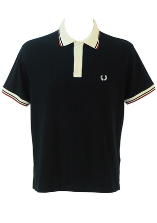 Fred Perry Black Polo Shirt with White Stripe Trim - L