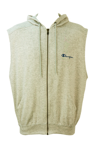 Champion Grey Sleeveless Zip-Up Hoodie - XL