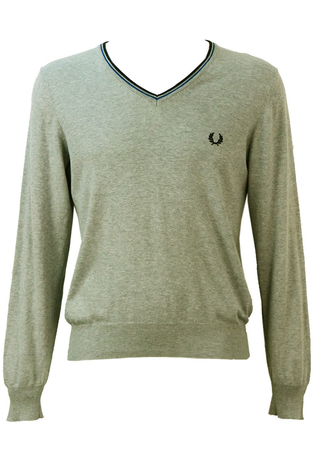 Fred Perry Light Grey V-Neck Cotton Jumper - S