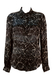 Moschino Black Blouse with Cream Love Heart Pattern - M