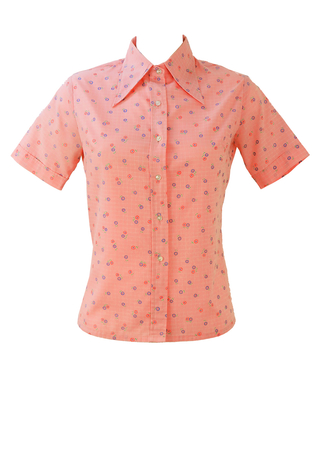 Vintage 1970's Light Pink Short Sleeved Shirt with Floral Pattern - S