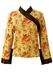 Kimono Style Orange & Brown Floral Silk Top - M