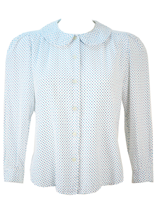 White Long Sleeved Blouse with Blue Polka Dots & Peter Pan Collar - M/L