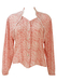 Pink & White Ditsy Floral Patterned Blouse with White Braid Trim - M