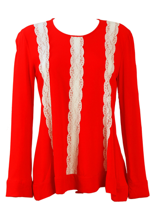 Red Long Sleeved Top with Striped White Lace Detail - M