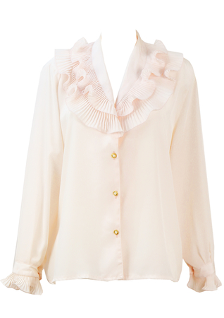 Soft Pink Blouse with Tiered Frill Collar and Cuff Detail - L/XL