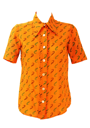 Vintage 1970's Orange Short Sleeved Blouse with Green & Brown Geometric Print - S