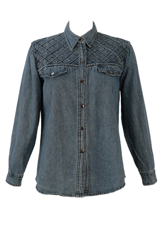 Blue Denim Shirt with Lattice & Diamante Detail - M