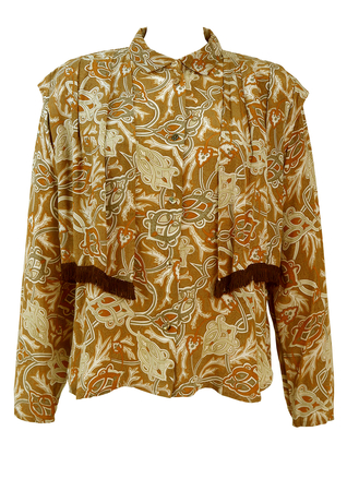 Layered Blouse with Brown, Grey & Ochre Arts & Crafts Style Print - M/L