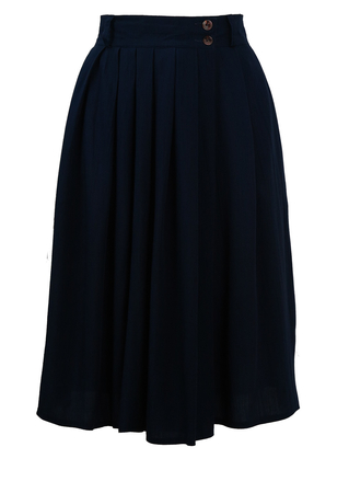 Navy Blue, Knee Length Pleated Culottes - M