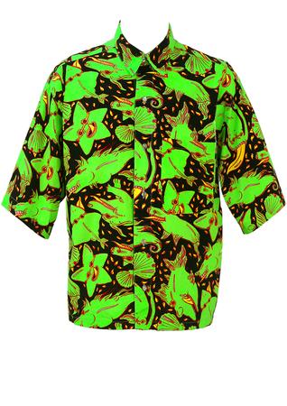 Short Sleeved Shirt with Acid Green & Yellow Starfish, Sea Horse & Shell Print! - M/L