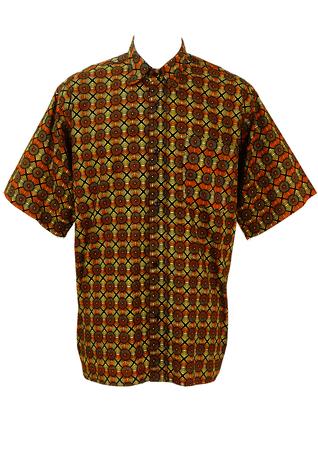 Short Sleeved Shirt with Vibrant African Print in Orange, Black & Ochre - XL/XXL