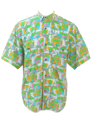 Short Sleeved Shirt with Childhood Animals Print! - M/L