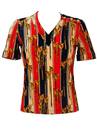 Red, Blue & Cream Striped T-Shirt with Equestrian Saddle Pattern - S