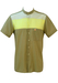 Olive Green Short Sleeved Shirt with Yellow & White Stripe - M/L