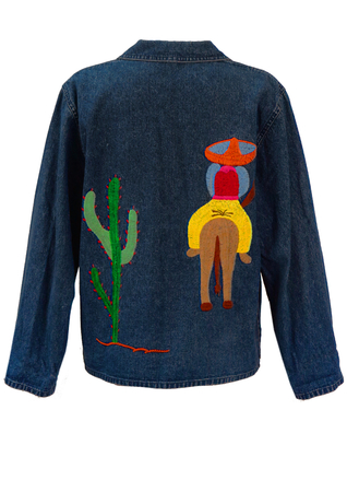Double Breasted Denim Jacket with Large Mexican Themed Embroidery on Back - M/L