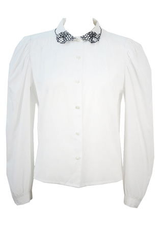 White Blouse with Navy Blue Floral Cut Out Collar - M/L