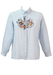 Blue & White Striped Blouse with Embroidered Looney Tunes Motif - M/L
